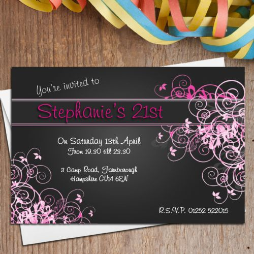 10 Personalised Pink Swirl Birthday Party Invitations N128